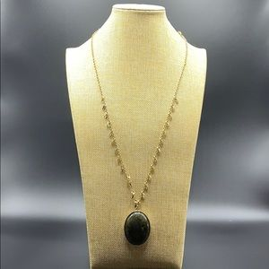 White House Black Market long necklace green stone